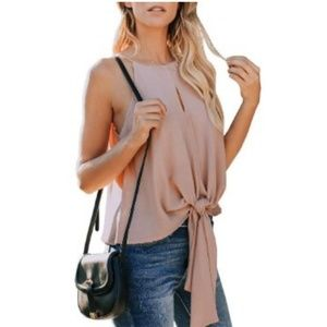 Tops - Camis Front Tie Knot Casual Front Keyhole Blouse